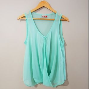 🦋3/$25 Only Sheer Turquoise Sleeveless Top Size 6